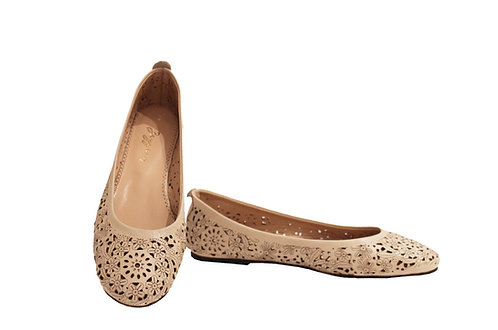 Cream Leather Laser Cut - Babette