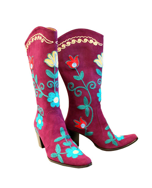 Plum Suede Embroidered - Cowboys