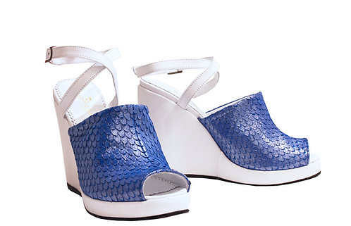 Silver Navy Leather - Strap Wedge