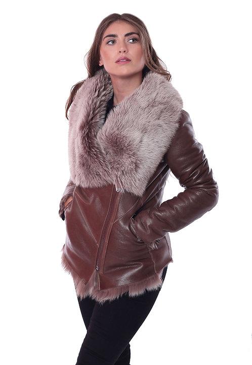 Toscana Fur Leather Jacket - Brown