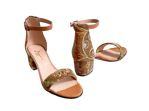 One of a Kind Tan Suzani - Sandals