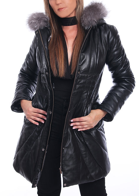 Leather Parka Fox Removable Collar