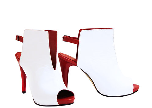 White Red In Leather - ANK Stiletto