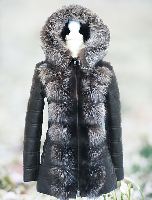 Leather Parka Fox Removable Arms
