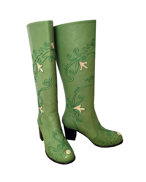 Green Leather Embroidered - Block