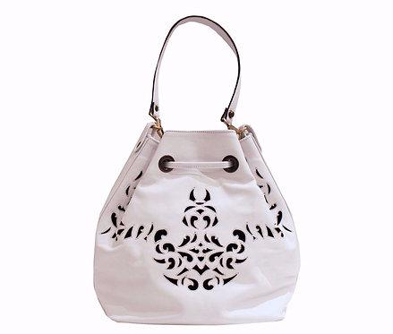 White Leather Lasercut Handbag