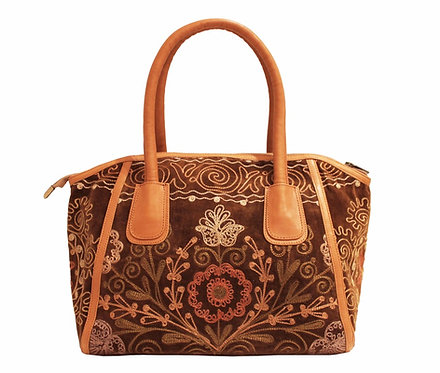 One of a Kind Tan Suzani Handbag