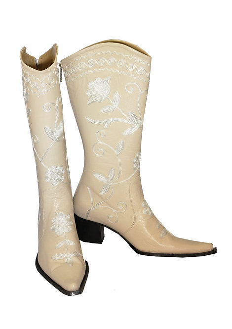 Cream Leather White Embroidered - Cowboys