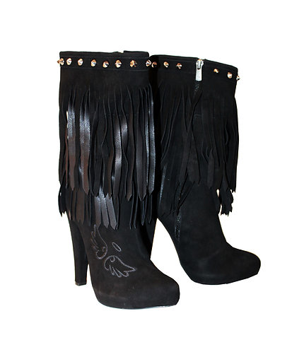 Suede Black Fringe Angel & Devil - Chunky