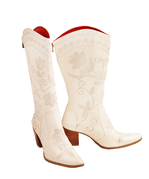 Cream Leather Embroidery - Cowboys