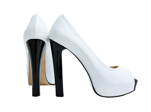 White Leather Black Heel - Pumps