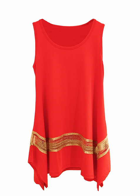 Gold Trim Top - Red