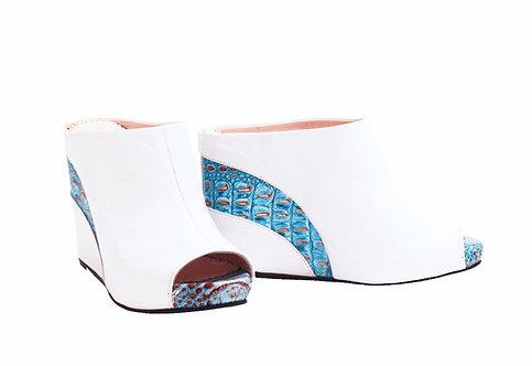 White Turquoise Python - Slip On Wedge