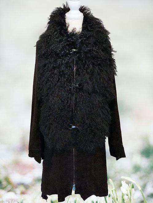 Suede Leather Mongolian Fur Khaleesi Coat