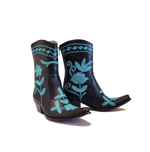 Black Leather Turquiose Embroidered - ANK Cowboys
