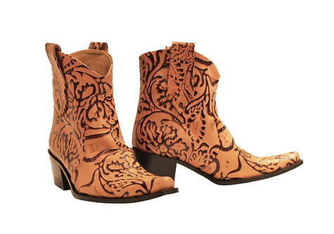 Tan Garden Embossed Leather - ANK Cowboys