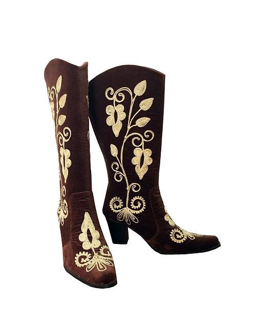 Brown Velvet Embroidered - Cowboy