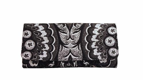Blk Slvr - Textile Clutch