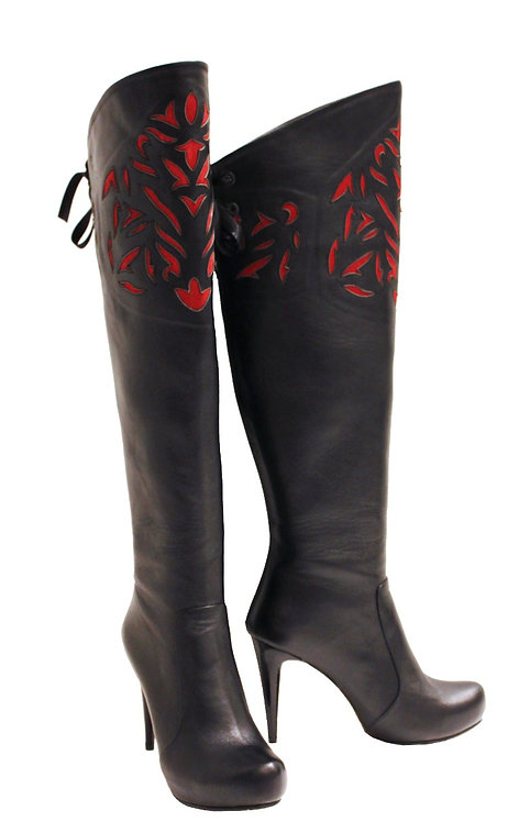 Black Leather Laser Cut Red - OTK Stiletto