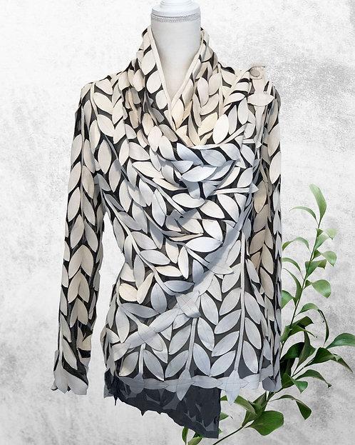 Leather Mesh Short Jackets - Cream Leaf