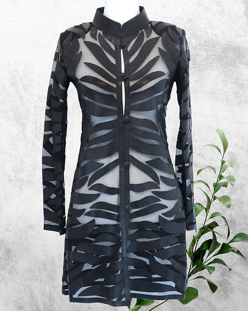 Leather Mesh Long Jacket - All Black Wave