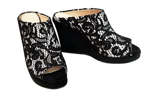 Black and White Lace - Slip On Wedge