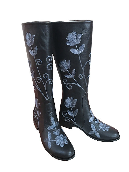 Black Leather Steel Embroidery - Riding