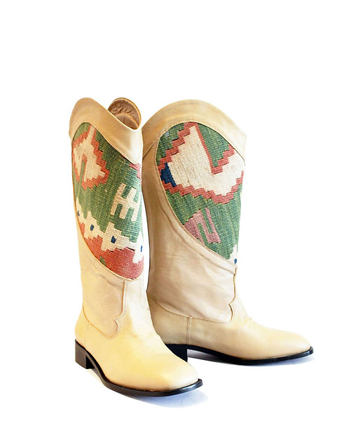 Kilim Heart Cream Leather - Western Pull On Riding
