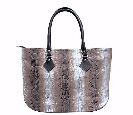 Leather Silver Python Handbag