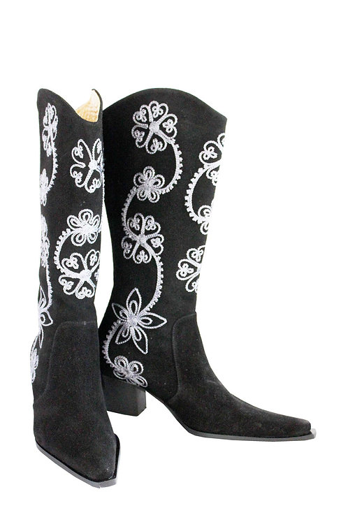 Black Suede Embroidered - Cowboys