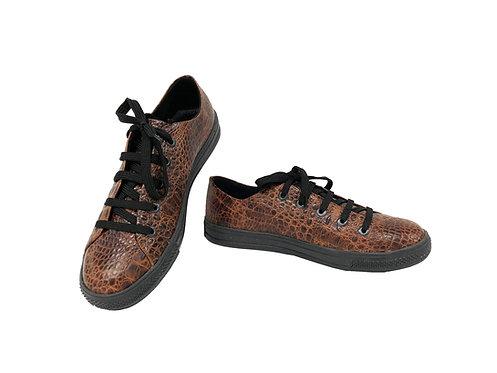 Brown Croc-Embossed Leather - Sneaker