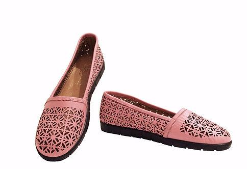 Pink Leather Laser Cut - Loafer
