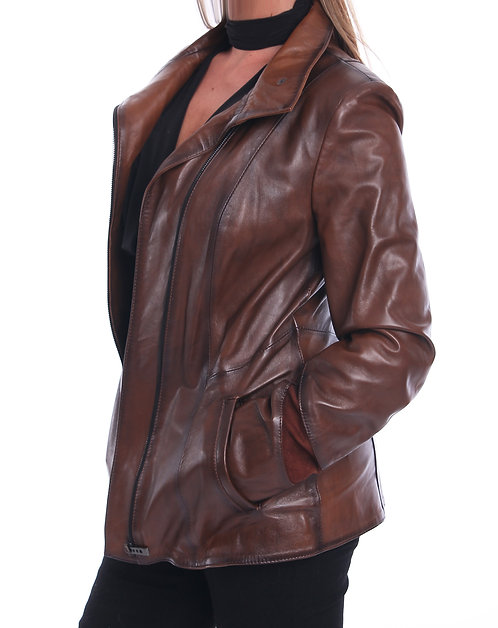Leather Jacket with Suede - Brown