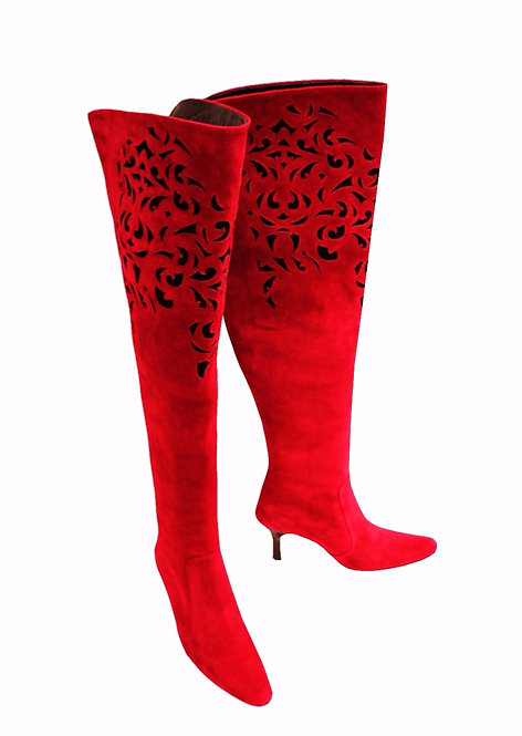 Red and Black Suede Laser Cut - TH Kitten