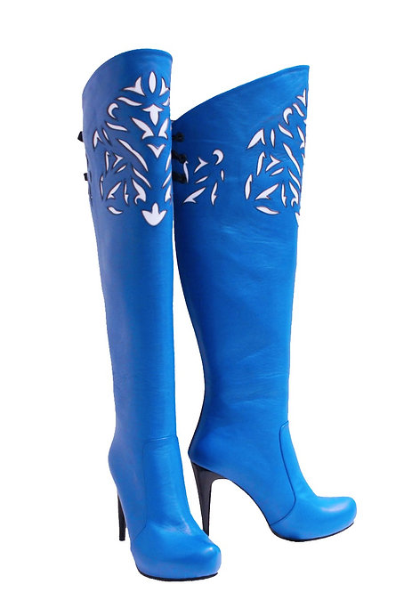Royal Blue Leather Laser Cut - OTK Stiletto