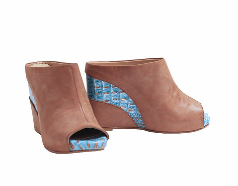 Derby Leather Turquoise Stripe - Slip On Wedge