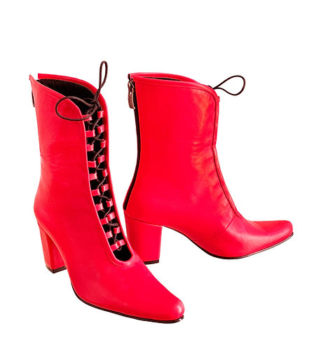 Red Leather Lace Up Front - Cuban