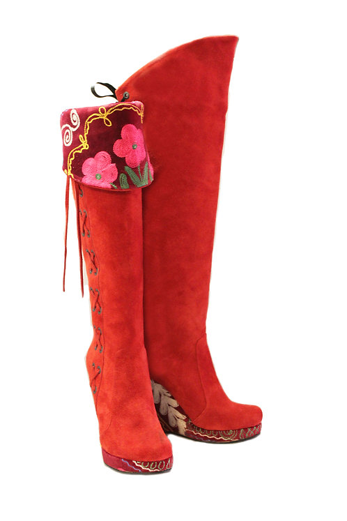 Red Suede One of a Kind Suzani - OTK Wedge