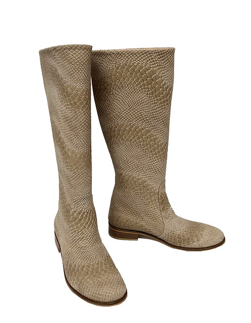 Nude Python Embossed Leather - Riding