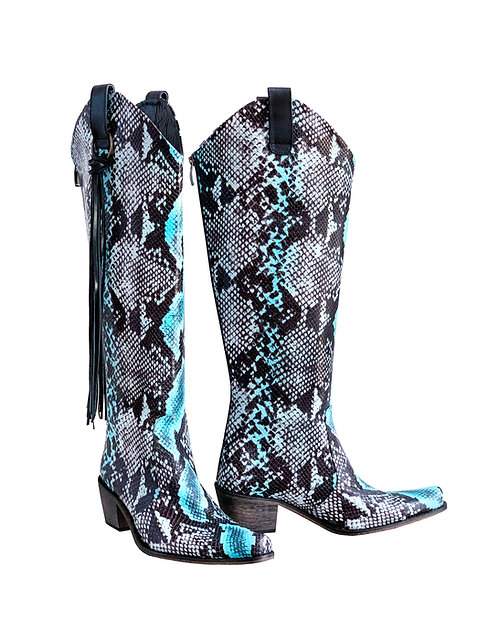 Blue Python Leather w/Tassels - KH Cowboys