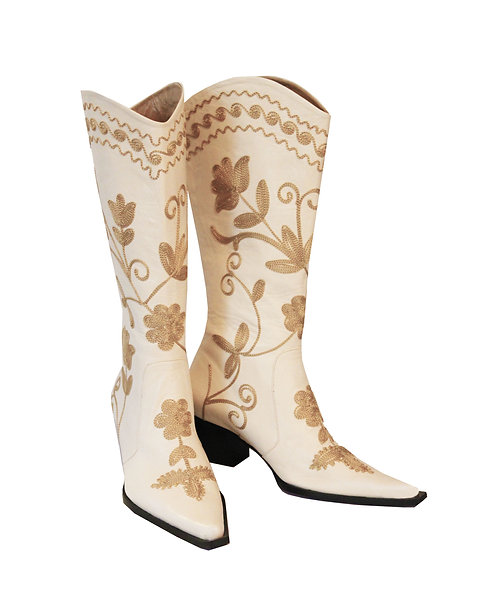 Cream Leather Beige Embroidered - Cowboys