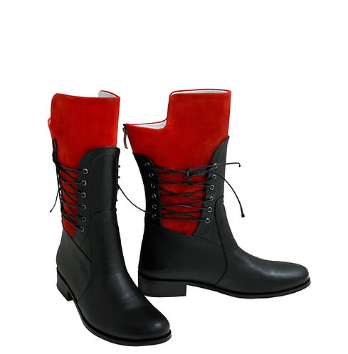 Black Leather Red Suede White Lining - MC Riding