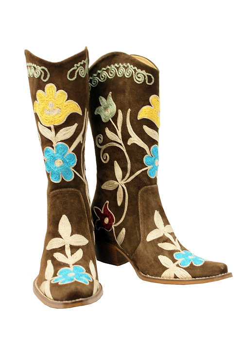 Brown Suede Embroidered - Pull On Cowboys