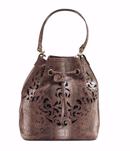 Silver Python Leather Handbag