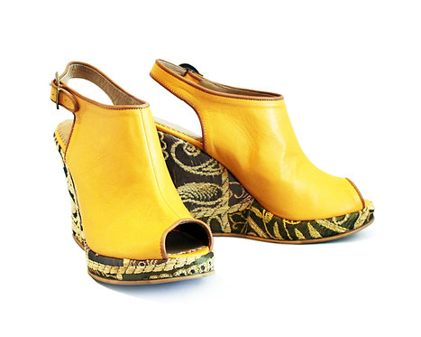 Yellow Leather Zari - Ankle Wedge