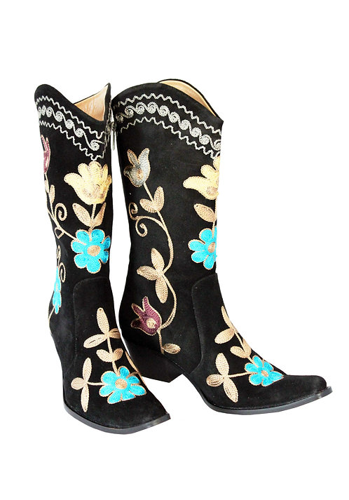 Black Suede Embroidered - Pull On Cowboys
