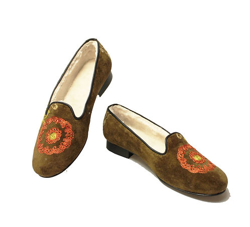 One of a Kind Tan Suzani - Loafers