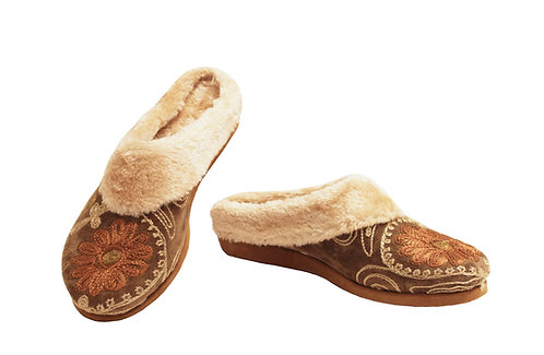 One of a Kind Tan Suzani Uptown - Clog Slippers