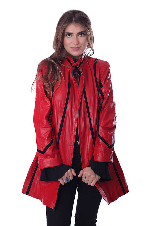Leather Swing Coat - Red