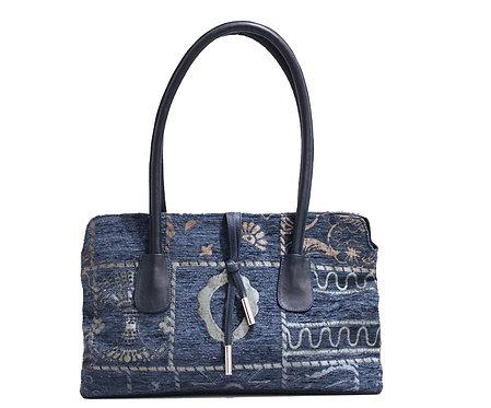 Navy Zari Reversed Handbag